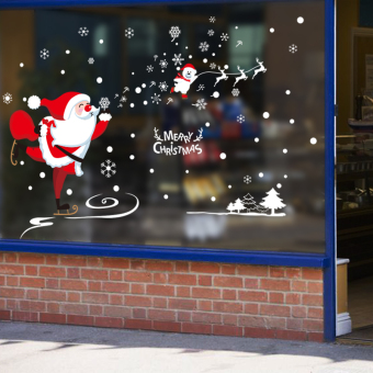 Christmas shop windows window wall sticker
