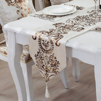 Classic Modern Cotton Linen Table Table Runner color:#2size:33*180cm - intl