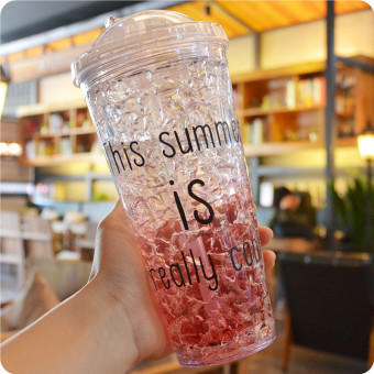 Cute student double layer cooling cup with straw Cup ice
