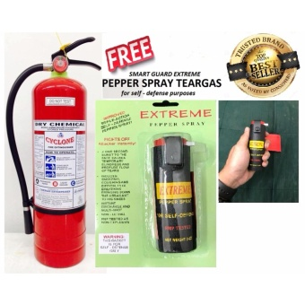 Cyclone Fire Extinguisher 10lbs ABC Dry Chemical (Red) with free pepper spray teargas