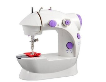 Double Thread Sewing Machine with Foot Pedal andAdapter(White-Lavender)