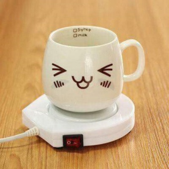Electronic Powered Cup Warmer Heater Pad Coffee Tea Milk MugWarmer(White)