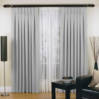 Elysian Luxury Urban Pinch Pleat Curtains Two Panel Jacquard Blockout Fabric (Stone)