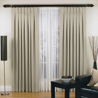 Elysian Luxury Urban Pinch Pleat Curtains Two Panel Jacquard Blockout Fabric (Taupe)