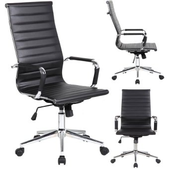 Executive High Back Office Chair Ribbed PU Leather With Wheels Arms Arm Rest