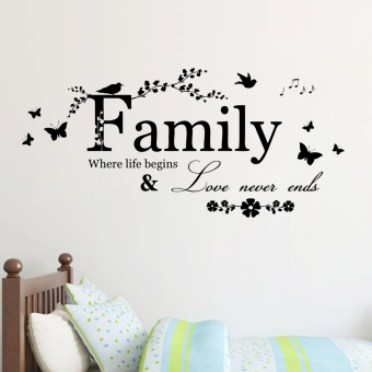 family where life begins & love never ends quotes wall stickers decorations diy letters home decals vinyl art room mural posters adesivos de paredes 8346. - Intl