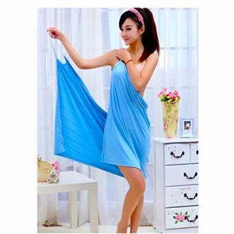 Fast Drying Bath Towel Bathrobes With Shoulder-Strap ( Blue)