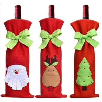 Festival Gift Party Table Decor Dinner Bottle Cover Bags Sets Santa Tree Christmas Red Wine - intl