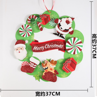 Five Point star Christmas door hanging 3D adhesive paper Christmas wreath