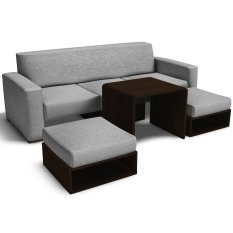 Furniture Source Sofa Set With Ottomans And Center Table Gray
