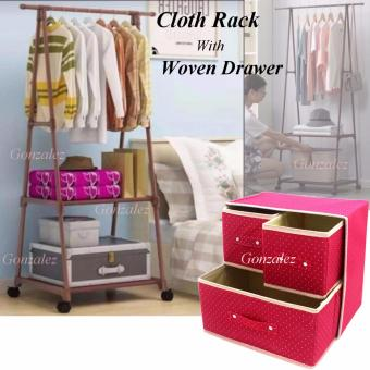 Gonzalez Multipurpose Durable Cloth Rack (Brown) with FoldableWoven Clothing Storage Box (Dotted Pink)