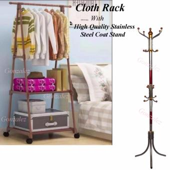 Gonzalez Multipurpose Durable Cloth Rack (Brown) with High QualityStainless Steel Coat Stand (Silver/Red)
