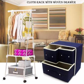 Gonzalez Multipurpose Durable Cloth Rack (White) with FoldableWoven Clothing Storage Box (Dotted Blue)