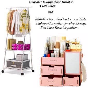Gonzalez Multipurpose Durable Cloth Rack (White) with MultifunctionWooden Drawer Style Makeup Cosmetics Jewelry Storage Box Case RackOrganizer (Blush Pink)