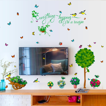 Green Tree fresh bedroom living room sofa TV wall wallpaper wall stickers