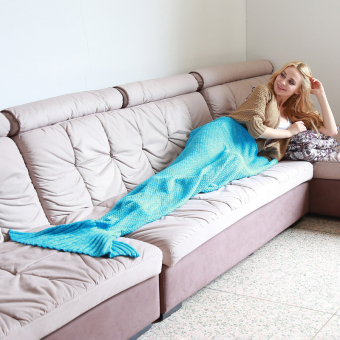 Hanyu Mermaid Tail Blanket Crochet and Mermaid Blanket for adult,Super Soft Sleeping Bags Blue (Intl) - Intl