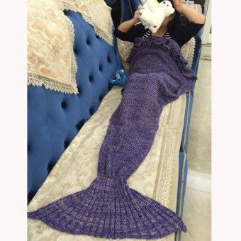 Hanyu Mermaid Tail Blanket Crochet Mermaid Blanket for Baby Infant Kids Sofa Quilt Living Room Bedroom Camping Warm Soft All Seasons Seatail Sleeping Bag Blanket Sleeping Throws 90 * 50cm (Dark Purple) - intl