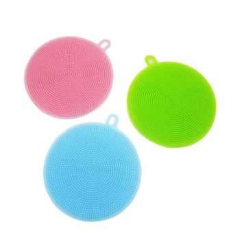 HappyLife 3Pcs Silicone Scrubber Dish Wash Cloth Dirt Cleaning ForKitchenbathroom (Blue &Amp; Green &Amp; Pink) - intl