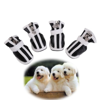 Hot PU Comfortable Boots Waterproof Shoes For Small Big Pet DogBlack No.5 - intl