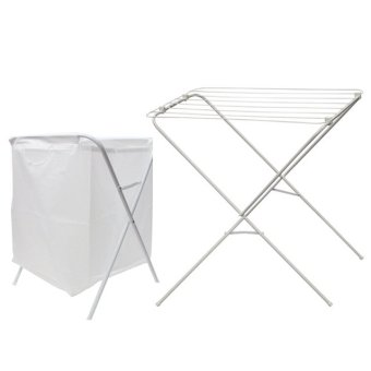 Ikea Jall Drying Rack and Jall Laundry Bag Stand (White)