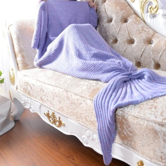 Knitted Handmade Crochet Mermaid Blanket for Kids Mermaid Blanket for Baby Mermaid Tail Blankets Throw Bed Wrap Soft Sleeping Bed Sleeping Bag 50X90CM - intl