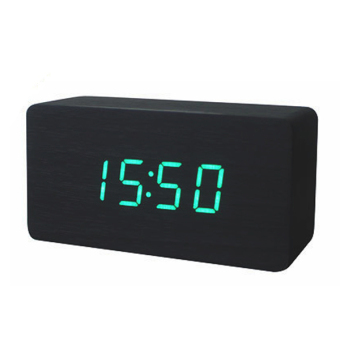 LED Office Desk Wooden Digital Alarm Clock(Black Bottom+Green Word)