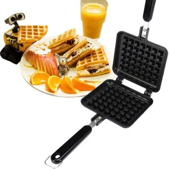 leegoal Waffle Grill Snack Maker,Cake Baking Pan, Aluminum AlloyWaffle Nonstick Double Sided Iron Pressure Pan With Handles,Black -intl