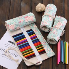 Lovely 48 Holes high quality Canvas Wrap Roll Up Pencil Bag - intl