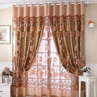 Luxurious Jacquard Curtains for Window Living Room Bedroom Door color:Coffee - intl