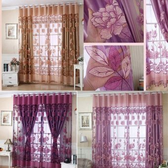 Luxurious Jacquard Curtains for Window Living Room Bedroom Doorcolor:Dark purple - intl