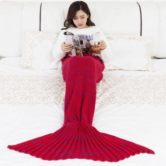Mermaid Blanket Mermaid Tail Wool For Sofa Cover New Style Trend Adult Children Relax Sleeping Nap Colorful Blankets 90*50cm - intl