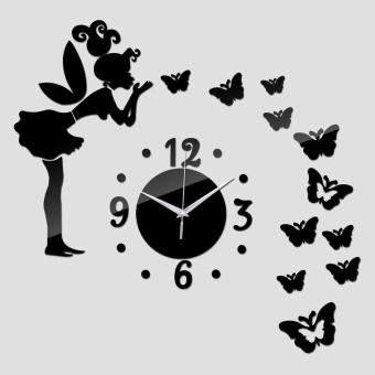 Mirror Wall Stickers Fairy Butterfly Clock Wall Sticker For HomeBedroom Office Decoration Removable Wall Sticker - intl