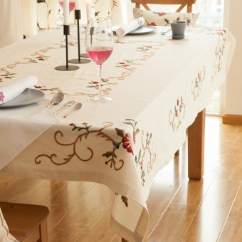 Modern pastoral cotton linen American embroidered coffee table cloth tablecloth