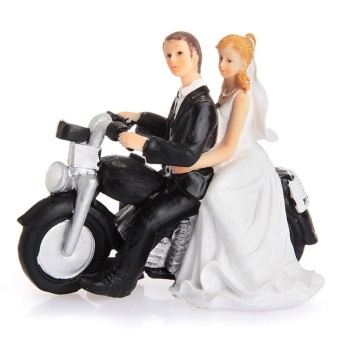 Motorcycle Get-away Wedding Couple Figurine Resin WeddingDecoration (Intl) - intl