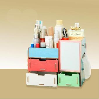 Multi-function Wooden Drawer Style Makeup Cosmetics Jewelry Storage Box Case Rack Organizer