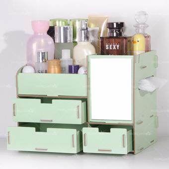 Multi-function Wooden Drawer Style Makeup Cosmetics Jewelry Storage Box Case Rack Organizer (Green)