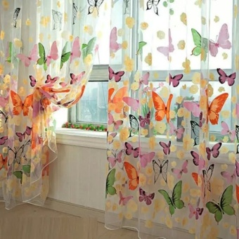 New Fashion Floral Butterfly Sheer Curtains Sheers Voile Tulle Window Curtain