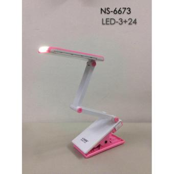 NSS NS-6673 Light Clip-on Clamp Bed Table Study Desk Reading Lamp (Pink)