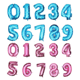 Number 0-9 Aluminum Foil Balloon Birthday Party Wedding Decoration (Blue/Pink)
