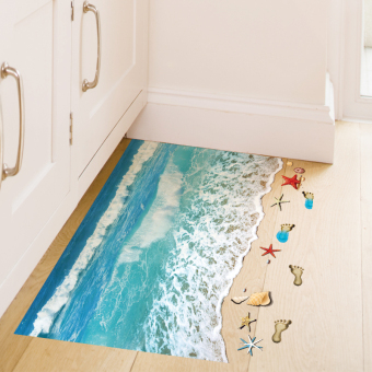 Ocean 3D beach bathroom floor to wall adhesive paper