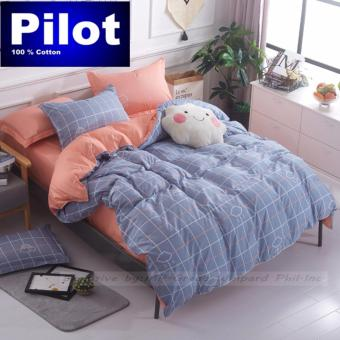 Pilot 4 Pieces Bedding Suit GD001 Fashion Grid Style Soft andComfortable Queen King Double Size Pillowcase Bed Sheet (CloudLover)