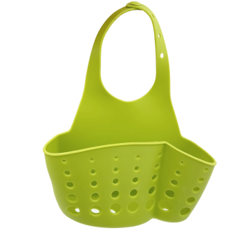 Plastic Kitchen Sink Drain Bathroom Hanging Storage Basket HolderShelf Organizer Bag for Kitchen and Bathroom Green