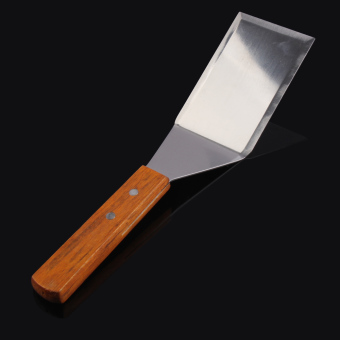 Professional Spatula Set Stainless Steel Spatula Scraper Pancake Turner Scoop with Wooden Handle for Teppanyaki Grills - intl