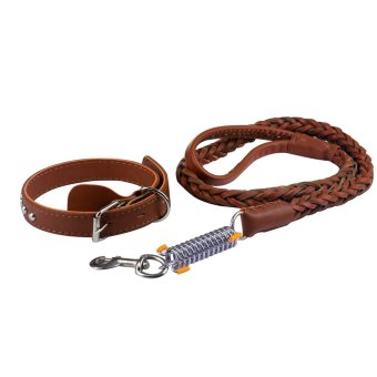 PU Leather Adjustable Pet Dog Leash and Collar Size M