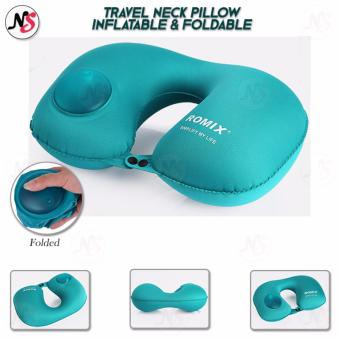 ROMIX U-Neck Glove Portable Cervical Cuffs Foldable Auto Inflatable Travel Pillow Outdoor Sleep Bed Office Lunch Pillow (Blue)