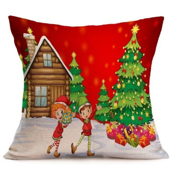 Santa Christmas Printed Pillow Case Sofa Chair Bedding HotelDecorative Cushion Cover Pillowslip - intl