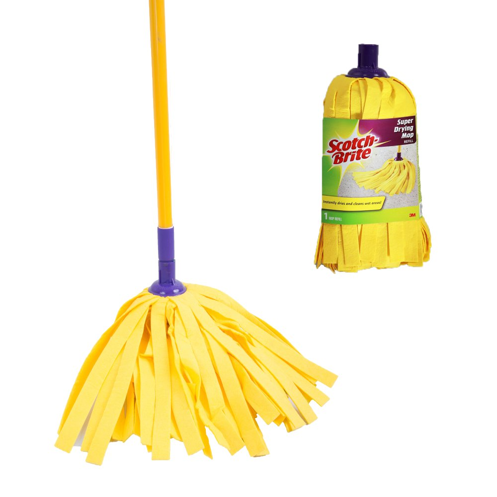 Bathroom scotch brite bathroom floor cleaner refills - Scotch Brite Super Drying Mop Set Yellow With