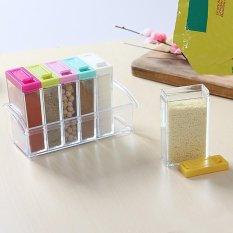 Set of 6 Spice Shaker Seasoning Bottle Jar Condiment Storage Container with Tray for Salt Sugar
