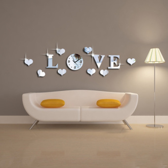 Silver Color Acrylic 3D Mirror LOVE Letter Decal Wall Sticker Clock Mechanism