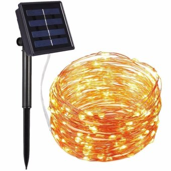 Solar Powered String Lights, 100 LED Copper Wire Lights, Starry String Lights, Indoor/Outdoor Waterproof Solar Decoration Lights for Gardens, Home, Dancing, Party (Warm White) - intl